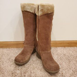Tan Heeled Fur Boots